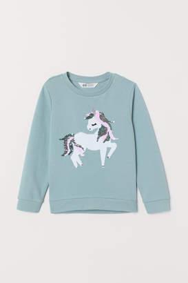 H&M Sweatshirt with Motif - Turquoise