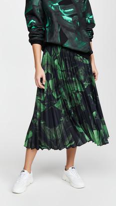 Off-White Green Brushstroke Plisse Skirt