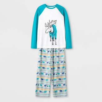 Cat & Jack Boys' Moose Pajama Set - Cat & JackTM White/Blue
