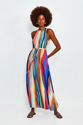 Karen Millen Rainbow Stripe Tie Waist Midi Dress