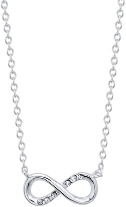 Love This Life Sterling Silver Crystal Infinity Necklace