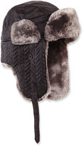 Neiman Marcus Herringbone-Quilted Faux-Fur Trapper Hat, Charcoal/Gray