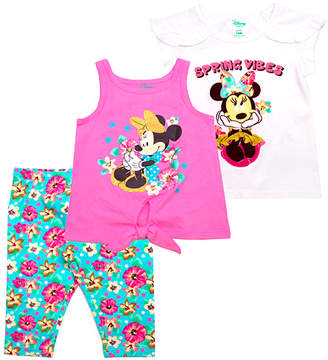 Children's Apparel Network Girls' Capris WHITE - Minnie Mouse 'Spring Vibes' Cap-Sleeve Top Set - Infant