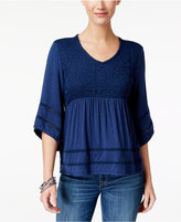 Style&Co. Style & Co Mixed-Media Peasant Top, Created for Macy's