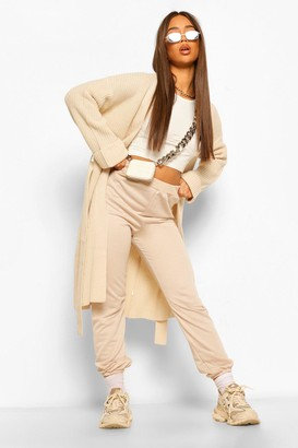 boohoo Chunky Knit Belted Midi Cardigan
