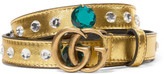 Gucci Crystal-embellished Metallic Leather Belt - Gold