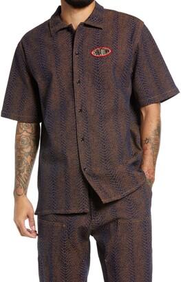 Chinatown Market Snakeskin Short Sleeve Button-Up Shirt