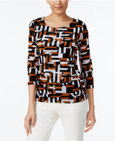 Alfani Petite Printed Tiered Top, Only at Macy's