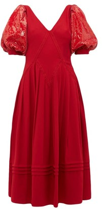Self-Portrait Sequinned-sleeve Cady Dress - Red