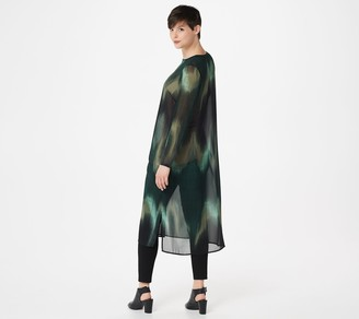 Lisa Rinna Collection Button Front Printed Woven Duster