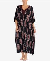 Ellen Tracy Plus Size Printed Cotton-Blend Caftan