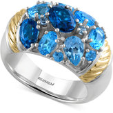 Effy Ocean Bleu By Blue Topaz Ring (5-1/3 ct. t.w.) in Sterling Silver and 18k Gold