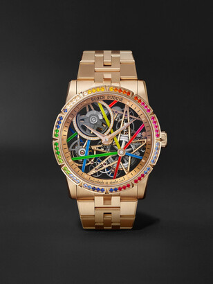 Roger Dubuis Excalibur Blacklight Limited Edition Automatic Skeleton 42mm 18-Karat Pink Gold and Multi-Stone Watch, Ref. No. RDDBEX0861 - Men - Rose gold