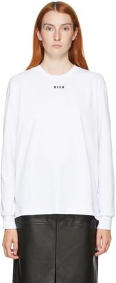 MSGM White Small Logo Long Sleeve T-Shirt