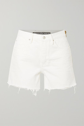 Alexander Wang Float Zip-embellished Frayed Denim Shorts - White