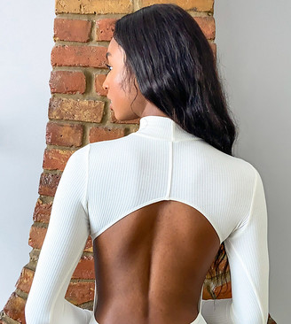Asos Tall ASOS DESIGN Tall turtleneck open back bodysuit with long sleeve in rib in cream