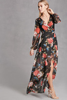 Forever 21 FOREVER 21+ Reverse Floral Wrap Maxi Dress