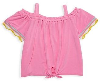 Design History Little Girl's Off-The-Shoulder Tie-Front Top