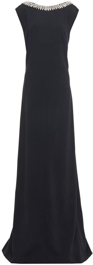 Carolina Herrera Embellished Crepe Gown