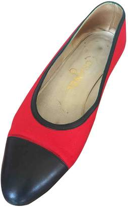 Chanel Red Cloth Ballet flats