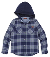 7 For All Mankind Boys' Plaid Hooded Flannel Shirt - Big Kid