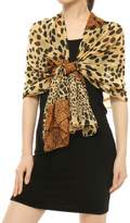 uxcell Women Rectangle Sheer Chiffon Leopard Prints Shawl