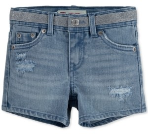 Levi's Little Girls Metallic Waist Distressed Denim Shorts
