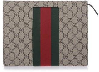 Gucci GG Supreme Web Detail Clutch Bag