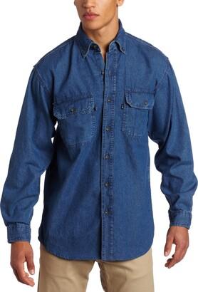 Key Apparel Key Industries Men's Premium Enzyme Washed Long Sleeve Denim Shirt Big Large/Tall