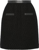 Jason Wu Leather-trimmed wool-bouclé skirt