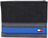 Tommy Hilfiger Black & Blue Stripe Passcase Leather Bifold Wallet
