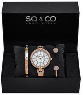 So&Co Women&s Madison Crystal Bangle Watch Set