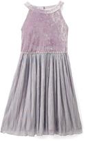 Speechless Lilac Crushed Velvet Yoke Dress - Girls