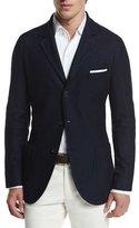 Loro Piana Cashmere-Silk Three-Button Sweater Jacket, Blue