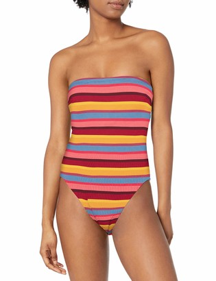 Seafolly Women's Strapless Tube One Piece Swimsuit with High Cut Leg