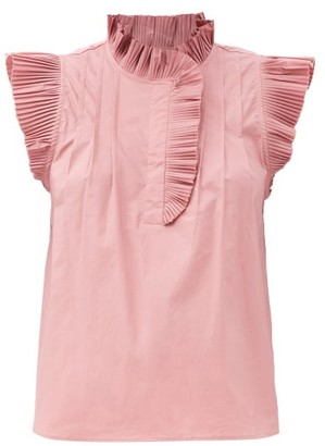 Sea Karla Ruffled Cotton-blend Top - Pink