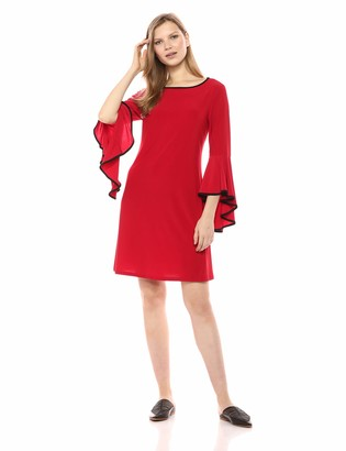 MSK Women's Bell Sleeve Dress with Contrasting Piping Details