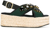 Marni embellished platform sandals - women - Raffia/Nylon/rubber/glass - 35
