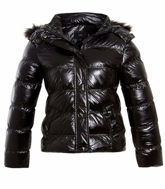 SS7 Womens Faux Fur Wet Look Bubble Coat Black
