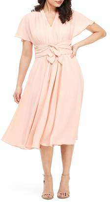 Gal Meets Glam Jane Tie Waist Midi Dress (Nordstrom Exclusive)