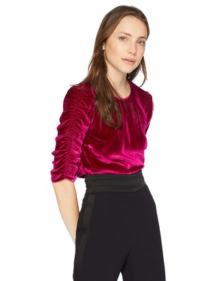 Rebecca Taylor Women's Long Sleeve Ruched Velvet Top