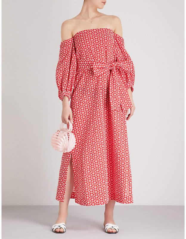 Lisa Marie Fernandez Rosie off-the-shoulder floral-embroidered cotton maxi dress
