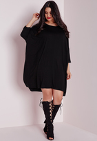 Missguided Plus Size Oversized T-Shirt Dress Black