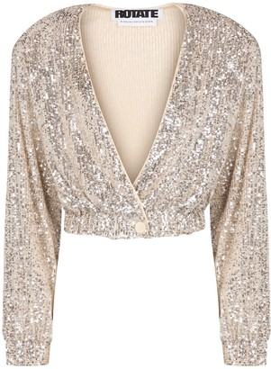 Rotate by Birger Christensen Judy sequined cropped jacket