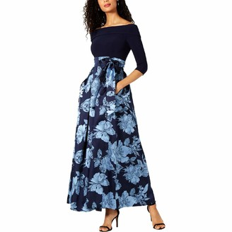 Jessica Howard JessicaHoward Women's Off Shoulder Gown with Sash at Waist