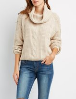 Charlotte Russe Cable Knit Cowl Neck Sweater