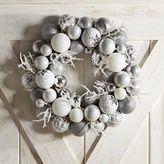 Pier 1 Imports Silver & White Ornament Ball Wreath