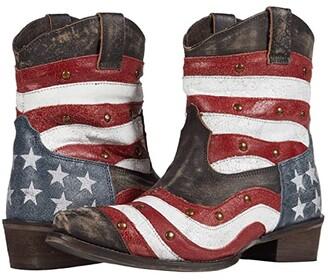 Roper American Beauty Swirl (Wavy Flag Vamp/Brass Studs) Cowboy Boots