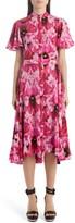 Alexander McQueen Flutter Sleeve Floral Silk Midi Dress