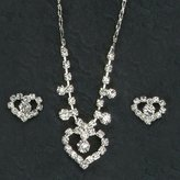 Gc Handcrafted Silver and Crystal Heart Necklace and Earrings Set